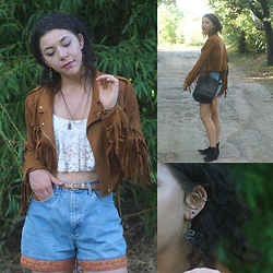 Hope Bidinger - Missguided Faux Suede Fringe Jacket, Missguided Bucket Bag, Claires Snake Earrings, Marshalls Cropped Lace Top - Fringed Out