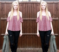 Sammi H - Primark Cut Out Top, Topshop + Diy Ripped Jeans, Second Hand Army Jacket - Summer Cut Outs