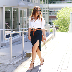 Alexandra G. - Gentle Fawn Side Slit Skirt, J.Crew Stacked Heels - Desk to Drinks