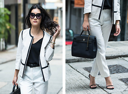 Carolcharlotteblair - Max And Co White Trousers, Penny Black Leather Jacket, Hermes Her Bag, Max Mara Black Belt, Stuart Weitzman Heels - Workdays- Suit it the right way