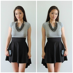 Kimberly Kong - Danice Top, Sparkles & Pop Necklace, Mimi Boutique Clutch, Danice Skirt - Remix:  The Gray Crop Top