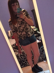 Haalen Agee - Thrifted Floral Shirt, Arizona Jean Shorts, Converse Black High Tops - Grandma Shirt