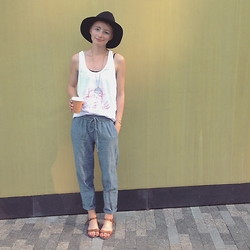 Morgan Elizabeth - J. Crew Pants, Madewell Sandals, Forever 21 Hat, The Sneerwell Necklace - Band Shirt