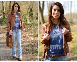 Lou M. - Bershka Brownleather Jacket, Asos Brown Western Belt, Forever 21 Stitch Shirt - Boho and Stitch