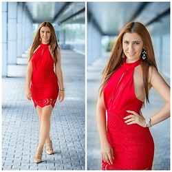 Andreea Manole - Shein Dress - Red lace dress