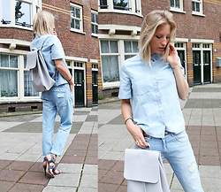 Anne Britt - Sacha Shoes Grey Leather Heels, Zara Light Blue Denim T Shirt, Zara Light Destroyed Boyfriend Jeans - LIGHT BLUE SUMMER
