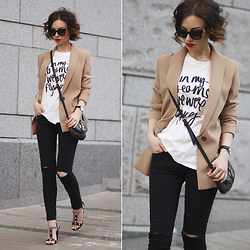 Sonya Karamazova - Dolce & Gabbana Sunglasses, Walktrendy T Shirt - CLASSY BLAZER AND RIPPED JEANS