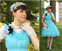 Tyler H - Vintage Bluebell Hat, Gift Gold Hoops With Pearl Drop, Vintage Gold Bow Necklace, Lily Of The Valley Hydrangea And Rose Corsage, Finale Gloves White Crochet Lace, Handmade Pool Blue Polkadot Dress, Vintage Beaded Shell Purse, Ebay White Dot Stockings, Miz Mooz Navy Heels - Lets Go Back