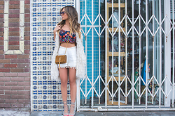 Jessi Malay - Isabel Marant Alfie Fringe Vest (On Sale!), Topshop Embroidered Bralet, Topshop Pompom Shorts, Aquazzura Amazon Laceup Sandals (In Nude), Dita Eyewear Freebird Frames - Haute Hippie | Atwater Village