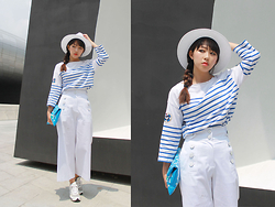 NAMI KIM - Luckychouette Stripe Tshirt, Luckychouette Bag, Luckychouette Wide Pants, H&M Hat, Suecommabonnie Sneakers - All white