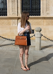 Nora Lauff - Topshop Denim Skirt, Mango Gladiator Sandals - White, Denim and Tan