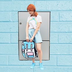 Vlada Kozachyshche - Topshop T Shirt, Cropp Town Necklace, Pull & Bear Skirt, Backpack, Adidas Superstar By Pharell - Light Blue