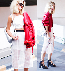 Mikuta - Young Hungry Free Top, Millman Street Skirt, Young Hungry Free Bag, Asos Shoes - White/red