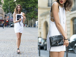 Elena G - Rebecca Minkoff Mini M.A.C. Crossbody, Zara Sandals, Alexander Wang T By Wong Crepe Camisole Dress - White Cut Out