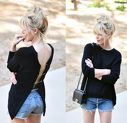 Maegan Tintari - Chanel Boy Bag, Levi's® Vintage Cut Offs, Diy Open Back Big Pin Sweater - Summertime Rolls