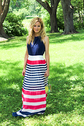 Kim Tuttle - The Mint Julep Boutique Stripe On Maxi - Pink, white + blue