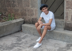 Nigel Simon De Guzman - Uniqlo White T Shirt, Mint Patterned, H&M Hat, River Island White Plimsoll - Hideaway