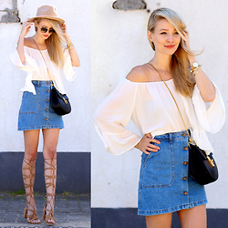 Leonie Hanne - Chloé Drew Bag, Jeans Skirt, Off Shoulder Top, Gladiator Heels, Sunnies, Hat - Off shoulder & Denim skirt | ohhcouture.com