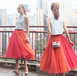 Mayo Wo - 6ixty 8ight Denim Top, Ziztar Tri Color Tulle Skirt, Ted Baker Floral Purse - Tri-color tulle