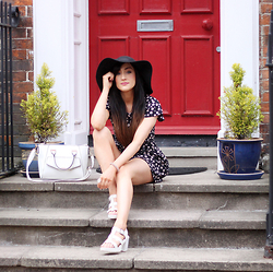 Charlotte Clothier - House Of Fraser Daisy Playsuit, New Look Sandals, New Look Bag, Topshop Hat - La Vie En Rose