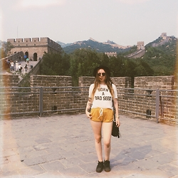Sally S - Born A Bad Seed T Shirt, Forever 21 Tie Shorts, Adidas Originals Superstar - Great Wall