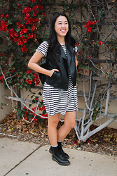 Rachel Park - Forever 21 Faux Leather Vest, Cotton On Striped Dress, Dr. Martens Combat Boots, Sweet Lemon Leather Backpack - SWEET LEMON