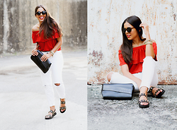 Nydia Enid - Zara Off Shoulder Top, Pacsun White Skinny Jeans, Beau + Ashe Black/Gold Studded Sandals - Take Me Out