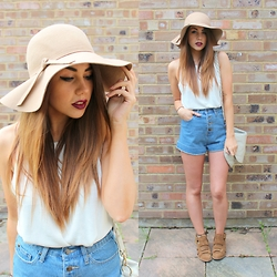 Jessica Sheppard - Missguided Floppy Hat, Primark Knitted Top, Missguided Denim Shorts, Mulberry Daria Hobo Satchel, Next Suede Wide Strap Boots - BUTTON DOWNS.