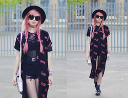 Amy Valentine - Lazy Oaf Fuck Yes Shirt Dress, Ark Mesh T Shirt, Boohoo Strappy Bralet, Sheinside Shredded Black Denim Shorts, Urban Outfitters Black Fedora, Zerouv Oversized Cat Eye Sunglasses, Dr Martens Snake 1460 Boots - A MASQUERADE OF LIES