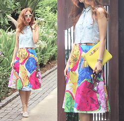 Mayo Wo - People By Pearly Sunnies, 6ixty 8ight Denim Vest, Ziztar Floral Rainbow Skirt, People By Tassel Clutch - Floral rainbow