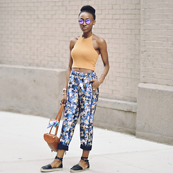 Nkenge Brown - Ray Ban Mirrored Glasses, Brandy Melville Usa Knit Halter, J. Crew Floral Pants, Dolce Vita Espadrilles - Knits & Florals