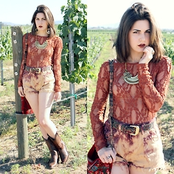 Lexi L - Free People Lacey Long Sleeve, Bleached High Rise Shorts, The Frye Company Western Boots, Vintage Aztec Belt, Nasty Dress Retro Necklace, Nasty Dress Evil Eye Ring - Summer is Done With Us