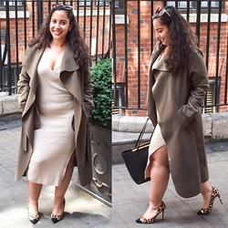 Andrea Da Silva - No Name Vintage Sunglasses, No Name Waterfall Coat From Market, Ted Baker Leather Bag, Dune London Leopard Heels, Asos Ribbed Midi Dess Side Split - Ribbed Midi Dress Side Split