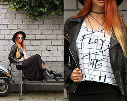 Liza LaBoheme - Fiorellashop The Wall Top, H&M Faux Leather Jacket, Dressgal Black Maxi Skirt, Topshop Socks, Salt And Pepper Platform Boots - We don't need no thought control