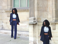 Stephanie C - Asos Blazer, Lavish Alice Trop Top, Wide Trouser - WIDE TROUSER + CROP TOP