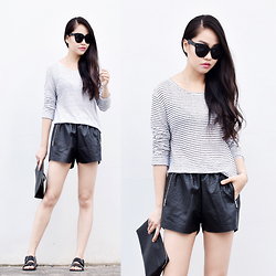 Meijia S - Alexander Wang Striped Tee, Millman Street Faux Leather Shorts, Coach Clutch, Alexander Wang Sandals - Being myself