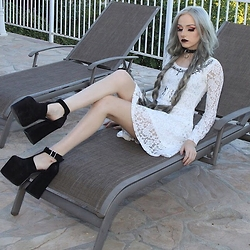 Kirsten Vogel - Ghost Of Harlem Lace Dress, Unif Dame Platforms - Beach Goth