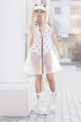 Krist Elle - Style Moi Plastic Dress, Jeffrey Campbell Boots - FUTURE