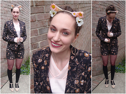 Pauline B - Forever 21 Floral Cat Ears, Forever 21 Twin Set, Lululemon Pink Shirt - Twin-Set & Cat Ears