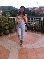 Anne Diocos - Grab Your Ootd Chiffon Pleated Top, Levi's® Boyfriend Jeans, Sheos Manila Lace Oxfords - Tempo