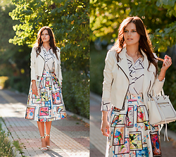 Viktoriya Sener - Sheinside Blouse, Sheinside Skirt, Mango Sandals, Bb Dakota Jacket, Rebecca Minkoff Bag - WHITE