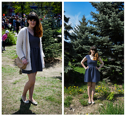 Leila Mustafaeva - New Look Dress, New Look Cardigan - Striped and happy