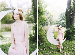 Esther Boller - Diy Beaded Headband, Guess? Vintage Chiffon Dress - Oh little Pierrette, where is your Pierrot?