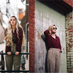 Chesney Vaughn - Forever 21 Burgundy Blouse, Vintage Trousers, Ray Ban Round Metal - Tomorrow Never Knows