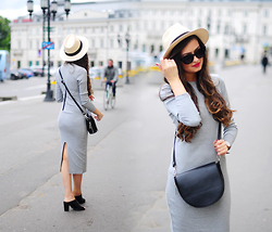 Magdalena S - Romwe Dress, Reserved Hat - Grey maxi dress