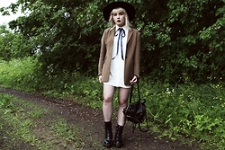 Thelma Malna - H&M Hat, 2nd Hand Blazer, Young Hungry Free Blouse Dress, Dr. Martens Jadon Boots - BLUE RIBBON
