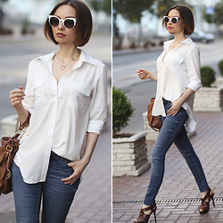 Sonya Karamazova - Fendi Sunglasses, Zara Jeans, Walktrendy Shirt - WHITE SHIRT