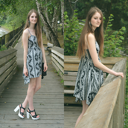 Jennifer M - H&M Dress, Call It Spring Platform Sandals - Monochrome