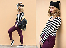Didi Ibarra Rake - Highqualitybuy.Com Striped Shirt, Hankip Fringed Backpack, Lola By Melissa Del Solar Slip Ons, Camote Soup Ears Beanie, Pacsun Burgundy Jogger - Stripes n' Fringe
