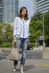 MonCherries . - Zara Jacket, Shirt Zara, Batycki Bag - Baby blue